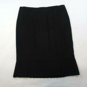 Talbots Midi Pencil Black Pleated Accent Lined